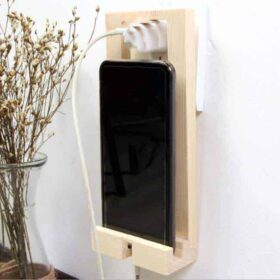 Mobile Phone Holder Wall Mount Bracket Wooden Stand Portable for Charging
